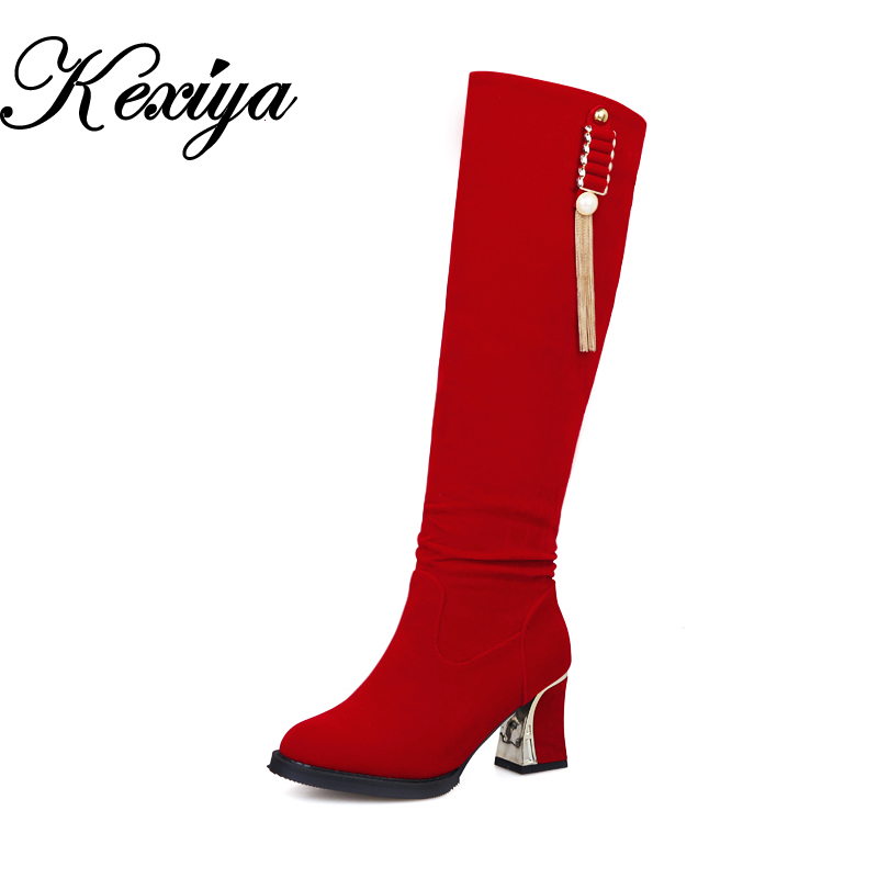 2015 New Fashion winter women shoes solid flock big size 34-48 red high heel long boots Slip-On Knee-High boots AYY-902-7 ravrry square heel solid knee high flock