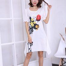 2018 New Ladies Fashion Summer Printing 3D short sleeves Dress High Quality  Round Neck Women s office Dress fcfcc756b135