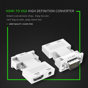 Image 2 - HDMI to VGA Converter Female to Male with Audio Adapter Signal HDMI VGA Audio Transmission Adapter 1080P for HDTV Projector