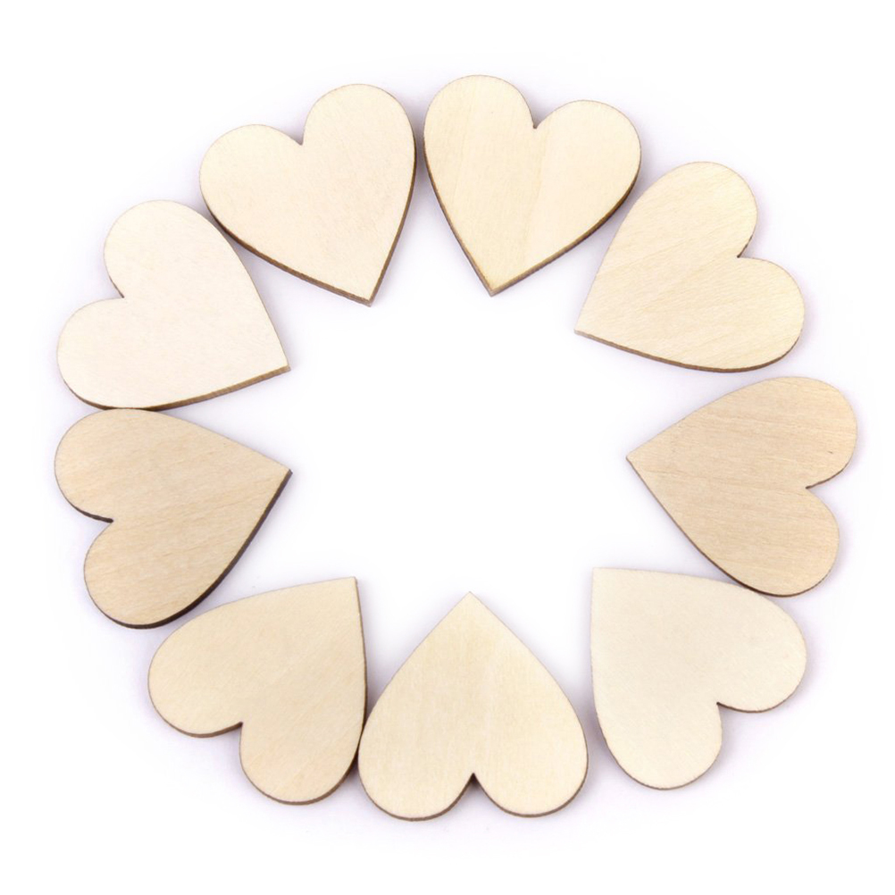 25pcs 40mm Blank Heart Wood Slices Discs For DIY Crafts Embellishments (Wood Color)