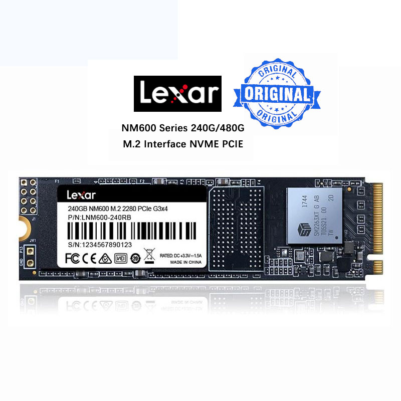Lexar SSD M2 M.2 2280 NVME pilote solide 240 GB 480 GB NM600 PCIe Gen3 * 4 jusqu'à 2100 MB/S pour ordinateur portable ordinateur portable Solido livraison directe