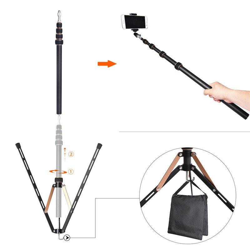 Fosoto FT-220 soporte de trípode de luz Led de fibra de carbono y 2 cabeza de tornillos para estudio fotográfico iluminación Flash paraguas Reflector - 2