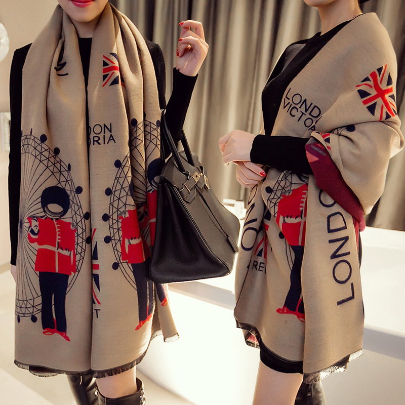 2016 New European Winter Warm Dual-purpose Thick Cashmere Scarves Shawls Cloak All-match Female Summer Air Conditioning