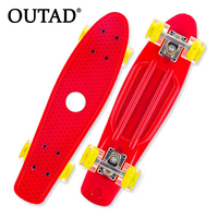 OUTAD Mini Portable Plastic Skate Board Four Wheels Fish Skateboard Scooter Cruiser Brush Street Board For