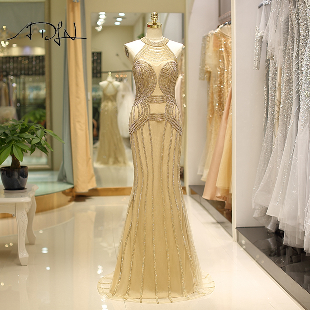 ADLN Luxurious Crystals Mermaid   Evening     Dresses   Halter Robe de Soiree Gold Pageant   Dress   Prom Gown Customized 2019