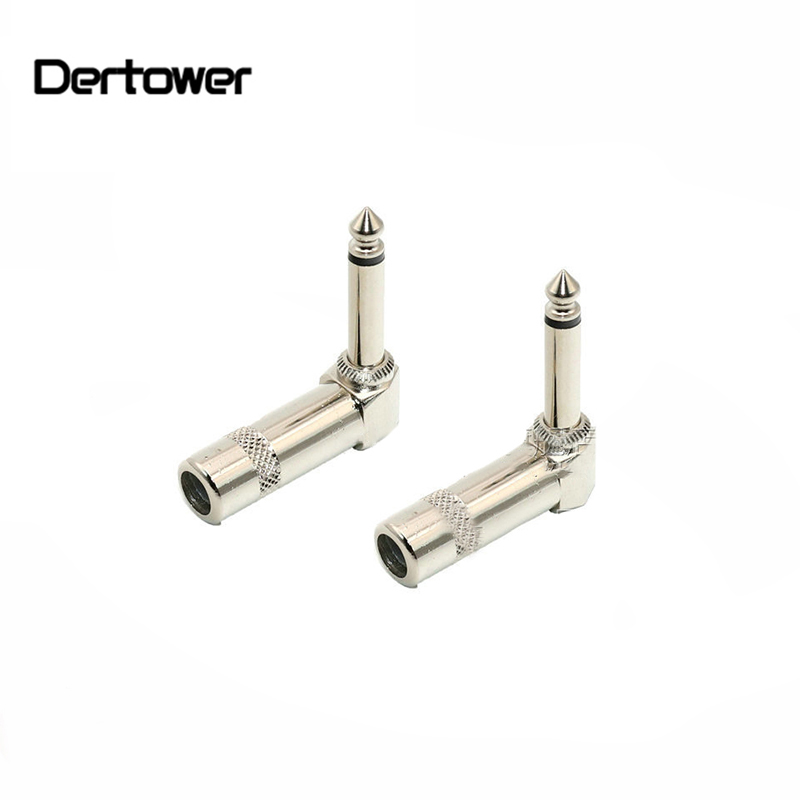 2pcs/lot 1/4 Inch Mono Welding Head Elbow Audio Plugs 6.35mm Jack Right Angle Male Mono Plug L-shape Connector For Guitar Audio