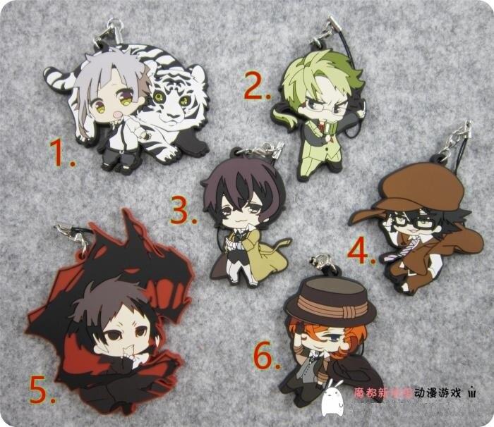 Bungo Stray Dogs Anime 2nd Ver Dazai Osamu Nakajima Atsushi Edogawa Ranpo Doppo Kunikida Rubber Resin Kawaii Keychain Pendant
