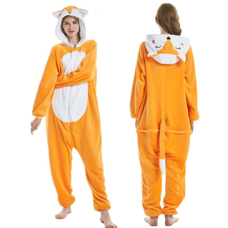 Fox Unicorn Pajamas Onesie Women Kigurumi Winter Flannel Pajama Kigurumi Adult Nightie Fox Stitch Unicornio Sleepwear Overalls