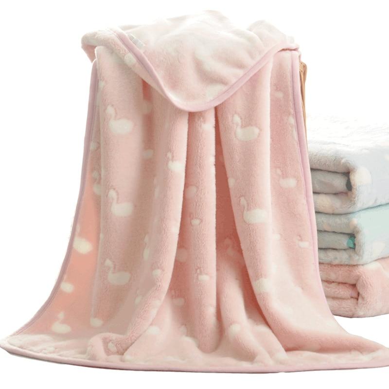 3D Grain Fluffy Soft Coral Swan Animal Winter Thick Baby Blanket Kids Blanket Back Seat Cover Baby Deken Toddler Bedding Quilt