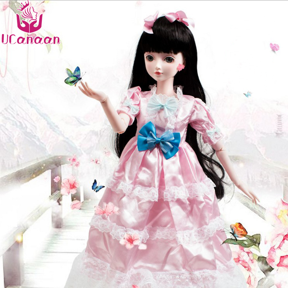 Ucanaan 1/3 Large BJD/SD Doll Fashion Make Up The First Princess Doll Offer Dress Wig Clothes Shoes Toys For Girl 1 3rd 65cm bjd nude doll bianca bjd sd doll girl include face up not include clothes wig shoes and other access