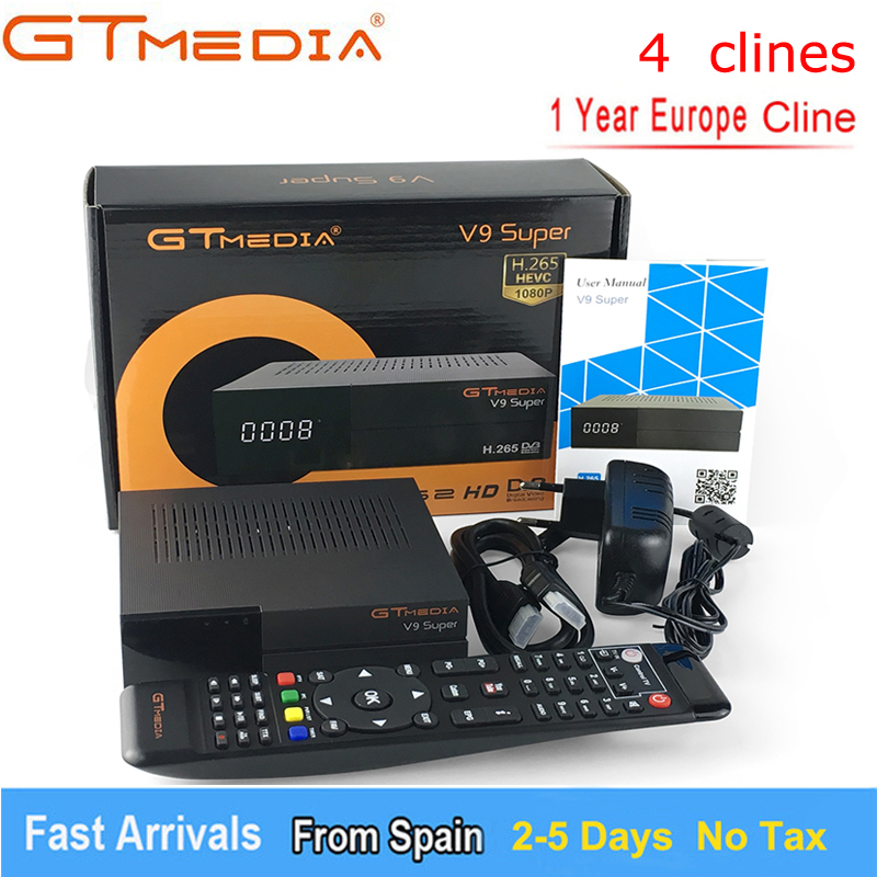 GTmedia V9 Super More than Freesat V8 Super V8 NOVA DVB S2 Satellite TV Receiver Receptor Decoder +1 Year 4 lines European CCcam