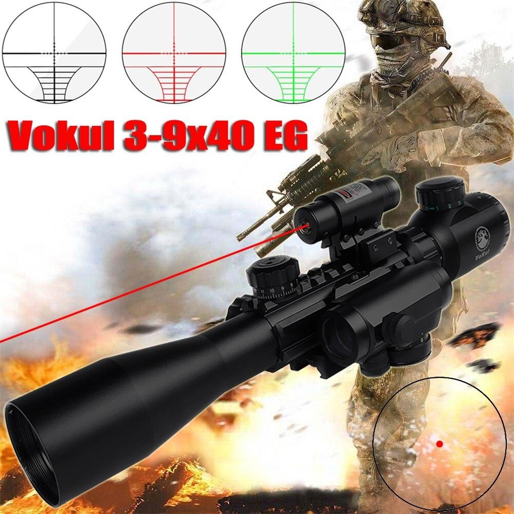 Haute Définition Anti-Sismique Vue Infrarouge rouge dot Nuit Vision rouge laser fusil scop 3-9x40 lunette de visée chasse optique