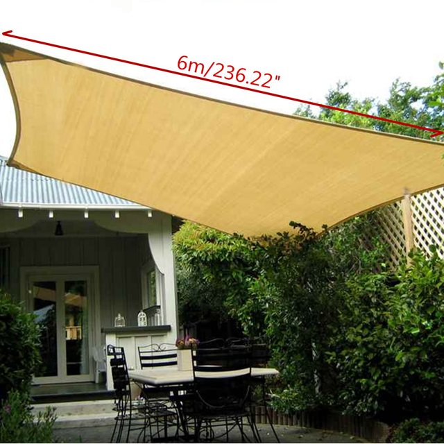 UV Protection Polyester Sun Shade Sail 6X4m Outdoor Garden Top Canopy Cover Patio Pool Coffee Shop & UV Protection Polyester Sun Shade Sail 6X4m Outdoor Garden Top ...