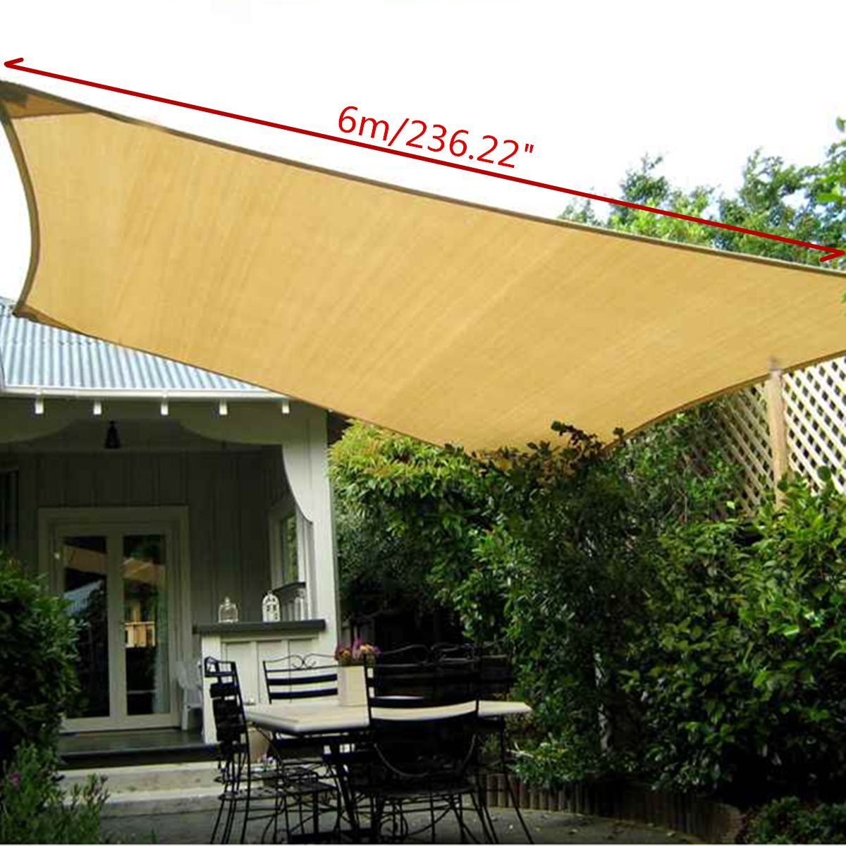 UV Protection Polyester Sun Shade Sail 6X4m Outdoor Garden Top Canopy Cover  Patio Pool Coffee Shop