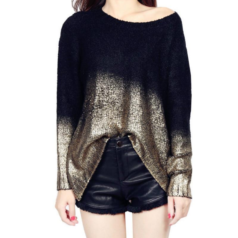 Metallic Color Sweater Bronzing Pullover Bat Sleeved O-Neck Oversized Knit Bottoming Shirt Gradient Silver Coat Irregular Tops