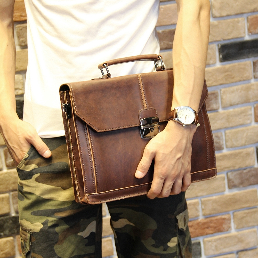 Vintage Men's Bag Crazy Horse PU Leather File Briefcase Men Messenger Bags Coffee Color Fashion Portfolio 12