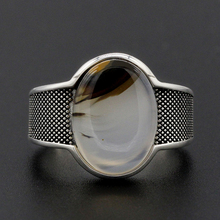 цена на 925 Sterling Silver Men Ring with Big Oval Natural Stone Vintage Oxidized Silver Ring Punk Style for Man Women Fashion Jewelry
