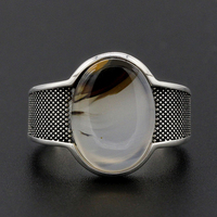 925 Sterling Silver Men Ring with Big Oval Natural Stone Vintage Oxidized Silver Ring Punk Style for Man Women Fashion Jewelry