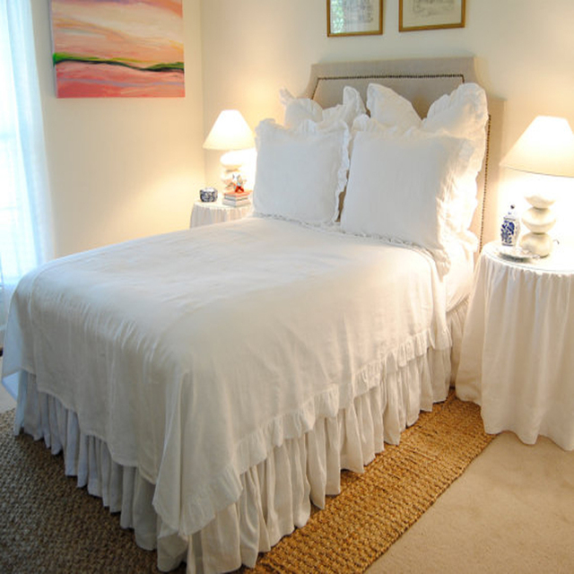 Washed Pure Ruffle Linen Duvet Cover Full 71 X83 Ruffled Bed Twin