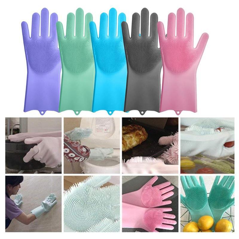 1 par silicona Magic Scrubber limpieza guantes de goma polvo lavado cuidado de mascotas Grooming pelo coche aislado ayudante de cocina