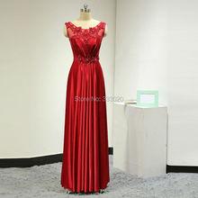 Bodenlangen Satin Rot Lang Abendgesellschaft Kleider Perlen Perlen Rotes Formales Abendkleid Abendkleid vestidos de fiesta