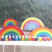 Большой 12 шт./компл. детская деревянная матрешка головоломка здание из соснового дерева радужных блоков укладчик развивающая игрушка Декор
