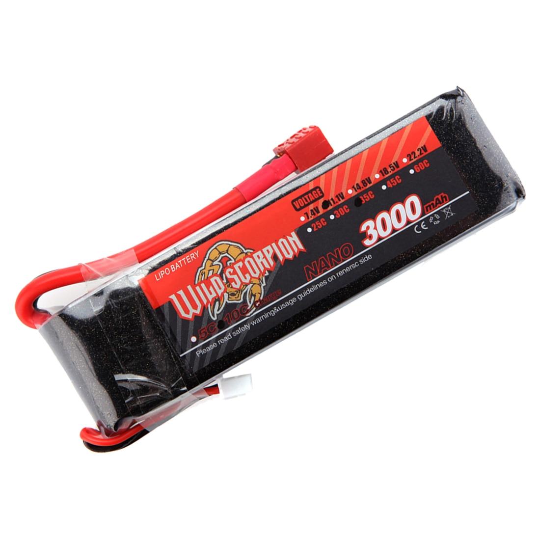 все цены на Wild Scorpion 7.4V 3000mAh 35C MAX 45C 2S T Plug Li-po Battery for RC Car