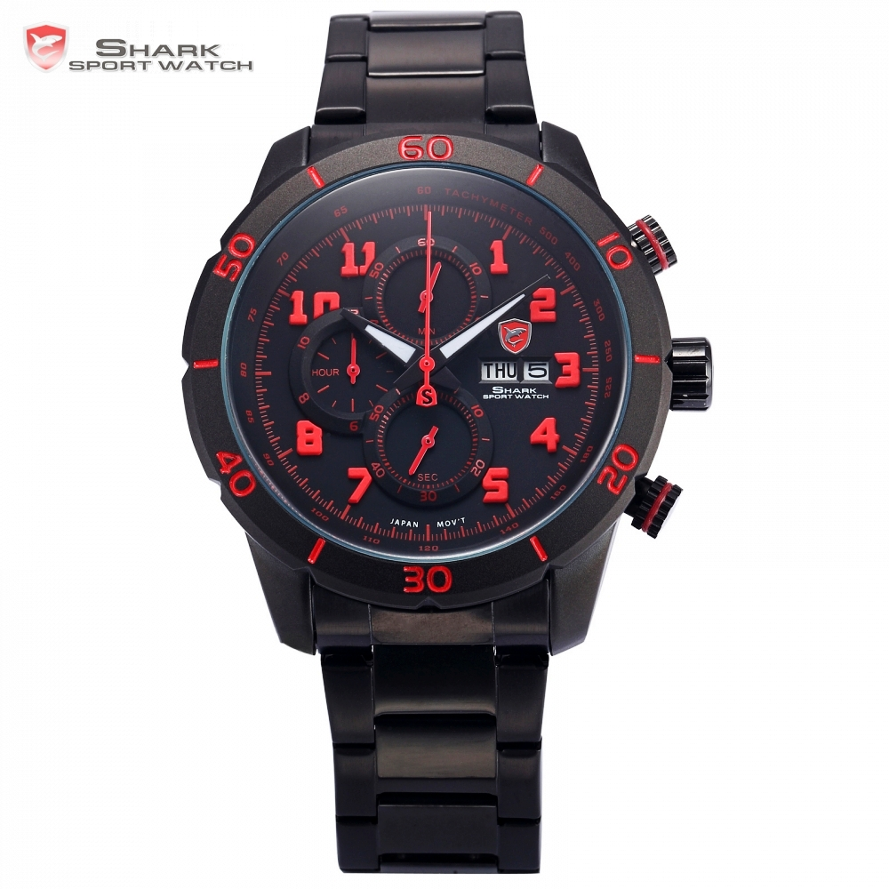 Gummy Shark Sport Watch Mens Black Red 3D Number Analog Calendar Stopwatch Quartz Stainless Steel Strap Watches +Gift Box /SH311 zebra shark sport watch two time zone relogio masculino white red analog black stainless steel mens quartz wrist watches sh297