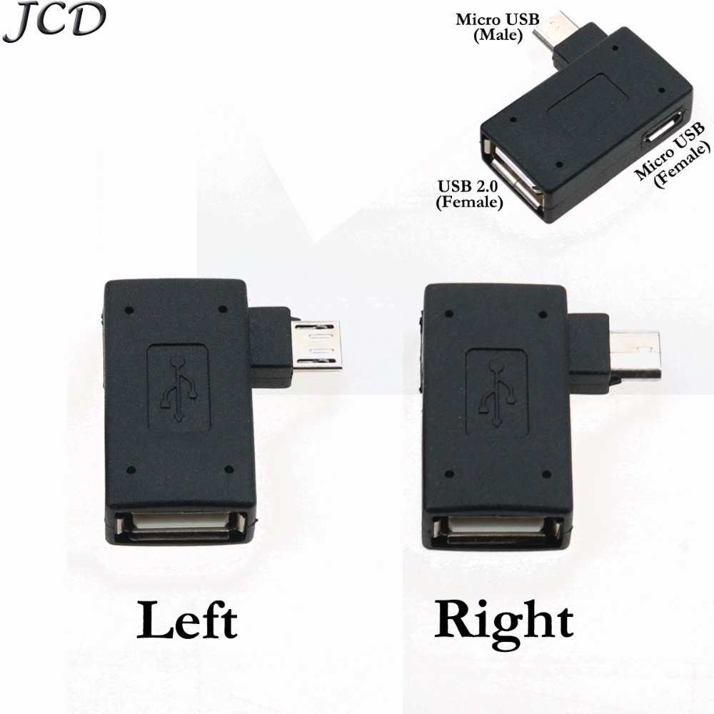 JCD 90 Degree Left /Right Angled Micro USB 2.0 OTG Host Adapter For Cell Phone Tablet Micro Female Power Connector