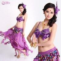 Vestidos De Dança Do Ventre Vestido indiano para a Senhora Sexy Palco de Dança Do Ventre desgaste Mulheres Uvas Bra + Cinto + Saia Mulheres Traje Do Bellydance