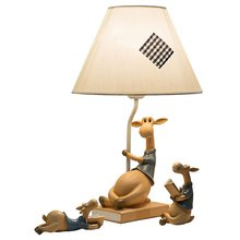 Creative Mediterranean Children Room Table Lamp Lovely Cartoon Resin Deer  Study Room Desk Light Modern Bedroom Bedside Lamps