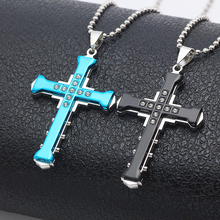 Fashion Men's Stainless Steel Cross Pendant Necklace Gold Silver Black Men and Women Hip Hop Metal Necklace Punk Style Jewelry недорого