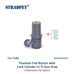 Image 2 - STRADPET Titanium Cello End Button & Lock Cylinder for Diameter 10mm Endpin only in Bright or Gun Gray