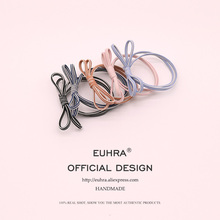EUHRA 6 Colors Striped Elastic Hair Korea Lovely Striped Bow-Knot Hair For Women Girls Hair Band Kid Children Rubber Band недорого