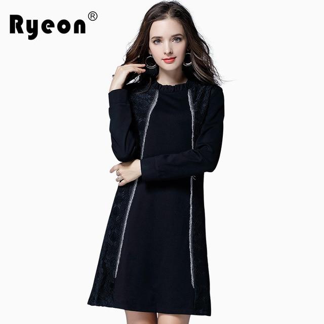 ec80ec647f2 Ryeon Plus Size Elegant Dress Spring Autumn Vintage Round Neck Long Sleeve  Lace Patchwork A Line Women Mini Dress Vestidos 5XL