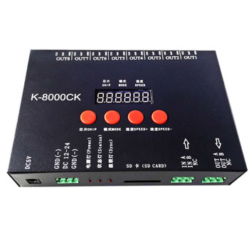 New K-8000CK LED pixel SD card controller (T-8000'upgraded version) ;off-line;8192 pixels controlled;SPI signal output
