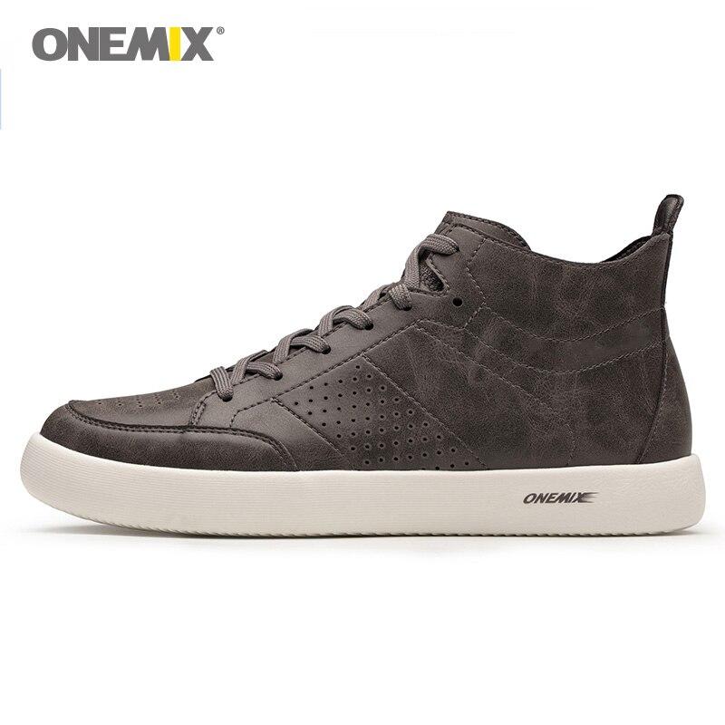 Onemix Sapatos Homem de Skate Dos Homens Camurça de Couro de Vaca Clássico Agradável Tendências Tênis de Skate Meninos Planas Formadores de Esportes Ao Ar Livre