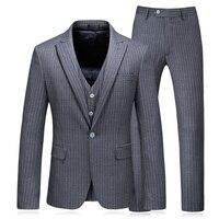 3 pieces plus size 5xl men's wedding groom suits long tail tuxedo fashion striped mens suit 2018
