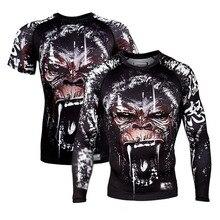 лучшая цена Rashguard Mma  Boxing T Shirt BJJ Men Muay Thai Printed Mma Monkey Kickboxing Shirt Spider-men Boxe Thai Fighting Boxing Jerseys