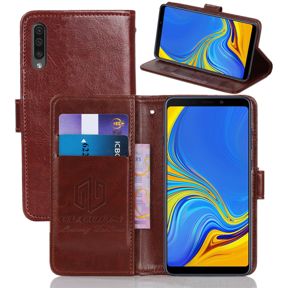 GUCOON Classic Wallet Case for <font><b>Samsung</b></font> <font><b>Galaxy</b></font> A10 A105F A30 A305F <font><b>A50</b></font> <font><b>A505F</b></font> Cover PU Leather Vintage Flip Case Phone Bag Shield image