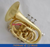 AAA Quality Gold Lacquer Pocket Trumpet Cornet Large bell Horn With Case
