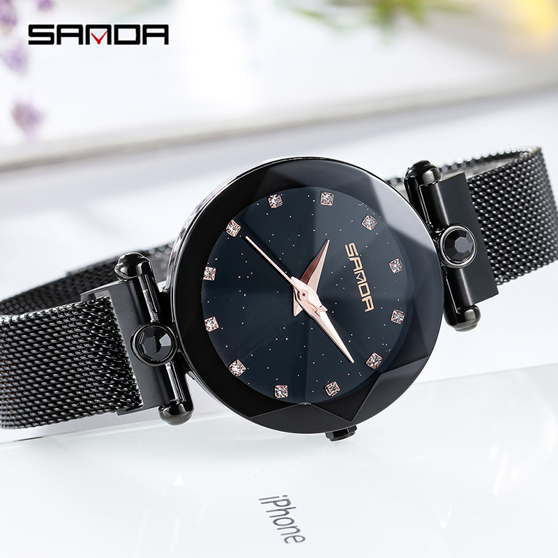 Starry Sky Women's Luxury Watch Diamond Metal Mesh Band Stainless Steel Analog Quartz Wristwatch Hot Sale 2018 Female Watches 5