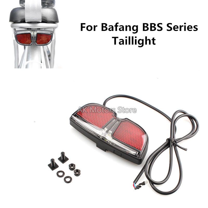 6V Electric Bicycle Taillight EBike Brake Rear Tail Light LED Warning Lamp For Bafang BBS Mid Drive Motor Safety Night Light