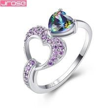 JROSE Classic Fashion Heart Jewelry Lover Rainbow Fire Mystic & Purple Cubiz Zirconia Silver Ring Size 6 7 8 9 Engagement