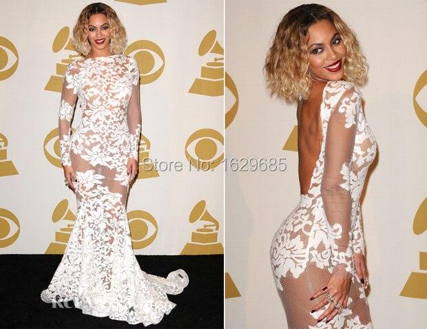 Модные Beyonce платье сексуальная прозрачный кружева знаменитости платья с длинными рукавами