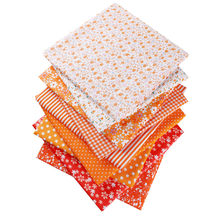 Orange 50X50cm 100% Cotton Floral Flowers Dots Striped Fabric For Doll Patchwork Clothes Sewing Needlework Christmas Decor 53119(China)