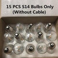 Bombillas LED IP65 15 Uds blanco cálido/Multicolor para S14 luces de cadena E27 bombilla LED Retro Edison para jardín al aire libre Luz de boda