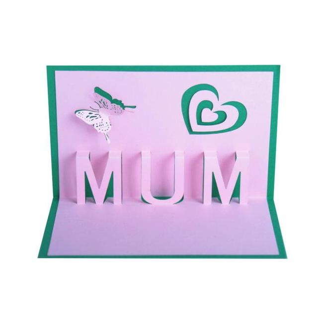 Happy Mothers Day Mum Birthday 3d Pop Up Laser Cut Greeting Card