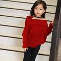 2016 Crianças Meninas camisola camisola menino criança do sexo feminino de lã grossa gola Strapless solto versão de amplitude de maré frete grátis