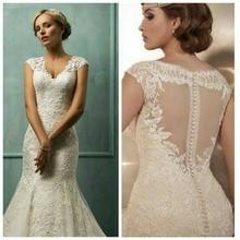 Glamorous V Neck Appliqued Cap Sleeve Sheer Back Mermaid Design Fashion Wedding Dresses
